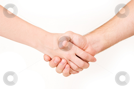 Business People #16 stock photo, Two business partners shaking hands - close up, copy space by Sean Nel