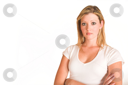Laura Hopton #37 stock photo, Business woman standing with arms crossed - copy space by Sean Nel