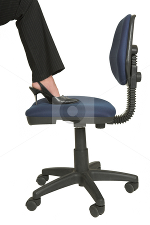 Business Woman #550 stock photo, Foot of a woman on a chair by Sean Nel