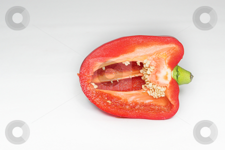 Peppers #1 stock photo, Red Pepper cut in half by Sean Nel