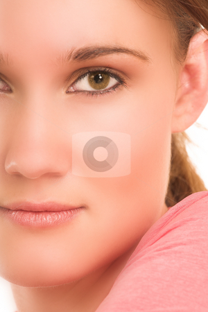 Face - Digital Artwork stock photo, Brunette business woman in  an informal light pink shirt.  Close-up.  Half face - Digital Artwork by Sean Nel