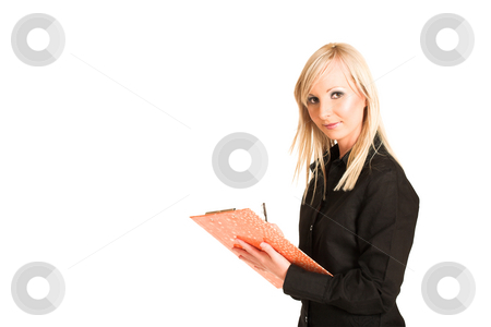 Business Woman #312 stock photo, Blond business woman dressed in black trousers and a black shirt.  Holding a file and a pen - copy space by Sean Nel