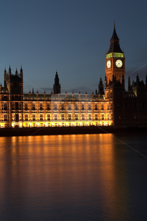 Big Ben #10 stock photo, Big Ben and the house of parliament just after sunset on the river Thames by Sean Nel
