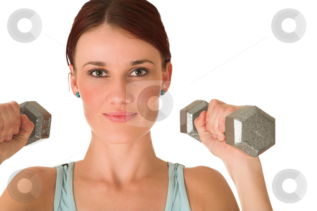 Gym #98 stock photo, Woman holding weights. by Sean Nel