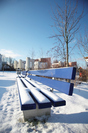 Munich #15 stock photo, Bench covered in snow in a park in Munch. by Sean Nel