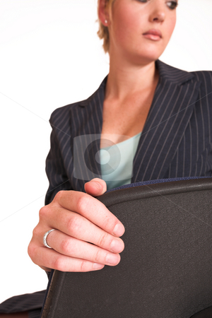 Laura Hopton #30 stock photo, Business woman on office chair with Laptop on her lap - looking down by Sean Nel