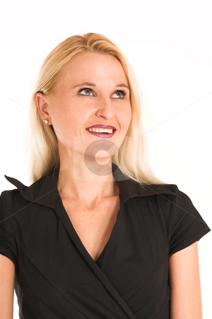 Business Woman #361 stock photo, Blond business woman, dressed in a black clothes. Lauging, looking up. by Sean Nel