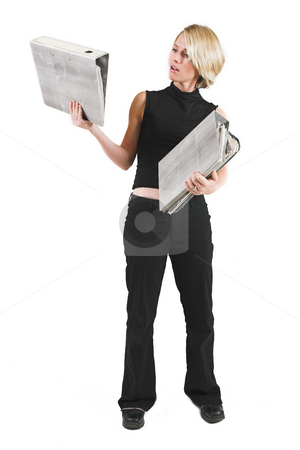 Businesswoman #47 stock photo, Business woman in black outfit with files by Sean Nel