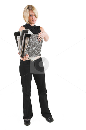 Businesswoman #48 stock photo, Business woman in black outfit with files by Sean Nel