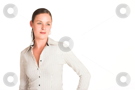 Business Woman #33 stock photo, Business woman dressed in a white pinstripe shirt. Copy space by Sean Nel