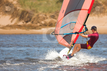 Windsurfer #03 stock photo, Fast moving windsurfer on the water at Keurbooms Lagoon, South Africa  by Sean Nel