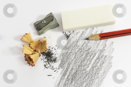 Stationary #2 stock photo, Pencil Eraser and pencil sharpener by Sean Nel