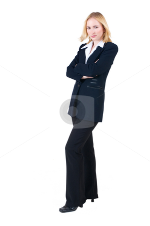 Lena Talberg #5 stock photo, Business woman in formal black suit, arms crossed - full length, copy space by Sean Nel