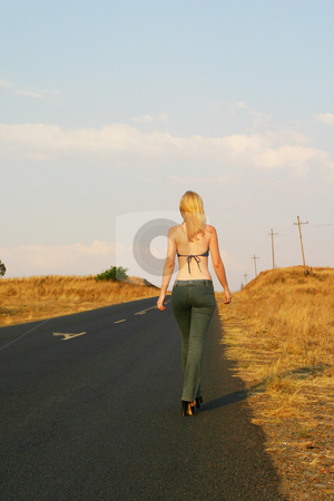 Roads #6 stock photo, Blonde girl walking next to the road by Sean Nel