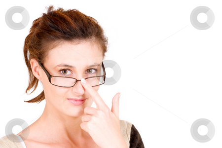 Business Lady #92 stock photo, Business woman with glasses - touching glasses with hand by Sean Nel