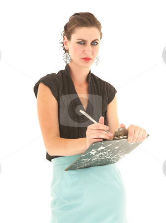 Sexy brunette businesswoman stock photo, Sexy young adult Caucasian businesswoman in a tight black sexy blouse on a white background with a pen and clipboard by Sean Nel