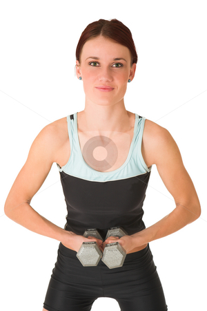 Gym #103 stock photo, Woman standing with weights. by Sean Nel