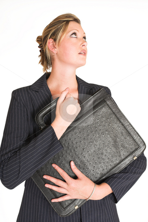 Business Woman  stock photo, Business woman holding a black leather suitcase by Sean Nel