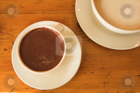 Lunch #37 stock photo, Hot chocolate and coffee on a wooden table by Sean Nel