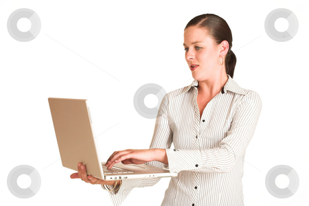 Business Woman #36 stock photo, Business woman dressed in a white pinstripe shirt. Working on laptop. copy space by Sean Nel