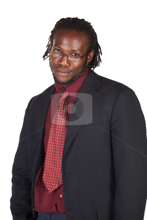 Handsome African businessman stock photo, Handsome African businessman in colorful suit wearing glasses on white background. NOT ISOLATED by Sean Nel