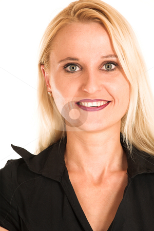 Business Woman #360 stock photo, Blond business woman, dressed in a black clothes. Portrait by Sean Nel