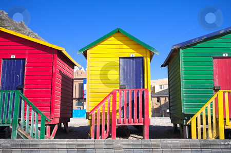 Muizenberg beach #5 stock photo, Multi-colored dressing rooms on the beach at Surfers Corner, Muizenberg, South Africa by Sean Nel