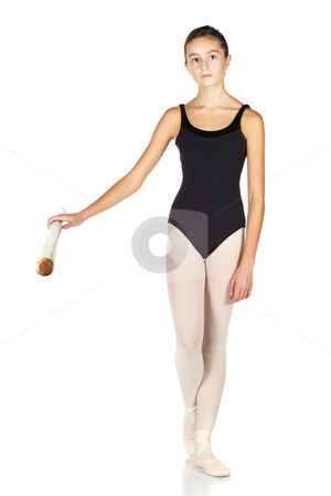 Ballet Steps stock photo, Young caucasian ballerina girl on white background and reflective white floor showing various ballet steps and positions. Not Isolated. by Sean Nel
