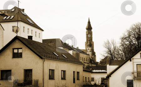 Straubing #15 stock photo, Basilica of St Jacob overlooking the Town of Straubing, Bavaria, Germany - Sepia Tone by Sean Nel