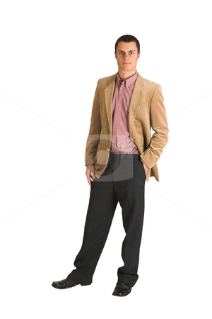 Businessman #194 stock photo, Businessman in a pink shirt and camel coloured jacket, serious.  Standing with one hand in his pocket. by Sean Nel