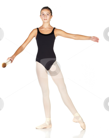 Ballet Steps stock photo, Young caucasian ballerina girl on white background and reflective white floor showing various ballet steps and positions. Pointe in Second Position. Not Isolated. by Sean Nel