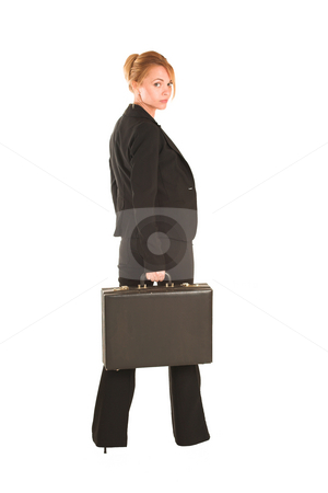 Businesswoman #232 stock photo, Blonde business lady in formal black suit.  Holding a black leather suitcase.  Full body. by Sean Nel
