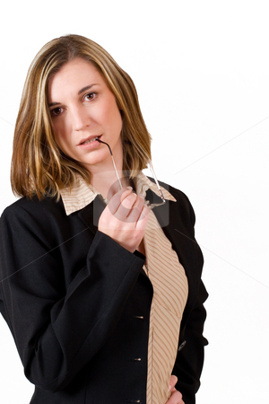 Felicity Calitz #3 stock photo, Business woman holding rading glasses in hand by Sean Nel
