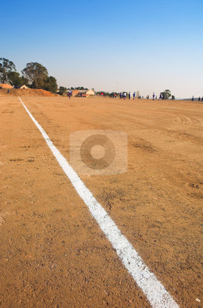 Rural soccer field stock photo, Boundary lines on rural football field by Sean Nel