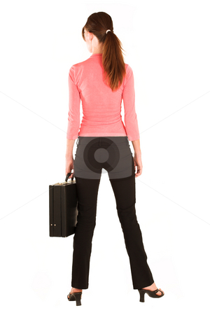 Business Woman #426 stock photo, Brunette business woman in  an informal light pink shirt and black trousers.  Holding a black leather suitcase. by Sean Nel