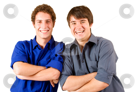 Business People #14 stock photo, Two business partners leaning on each other by Sean Nel