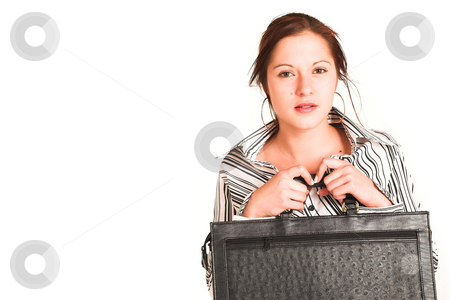 Business Woman #331 stock photo, Business woman with brown hair, dressed in a white shirt with black stripes.  Copy space by Sean Nel