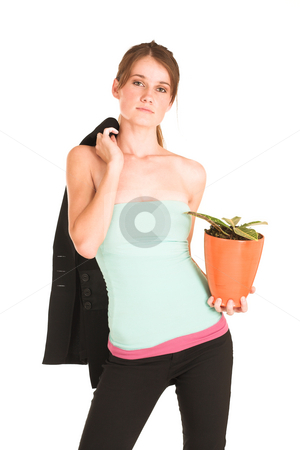 Businesswoman #440 stock photo, Brunette business lady in light blue top and black pants.  Holding jacket and pot plant. by Sean Nel
