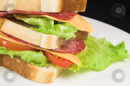 Food #32 stock photo, A salami, cheese, tomato and lettuce sandwich on a white plate. by Sean Nel