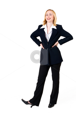 Lena Talberg #2 stock photo, Business woman in formal black suit with hands on hips -full length, copy space- by Sean Nel