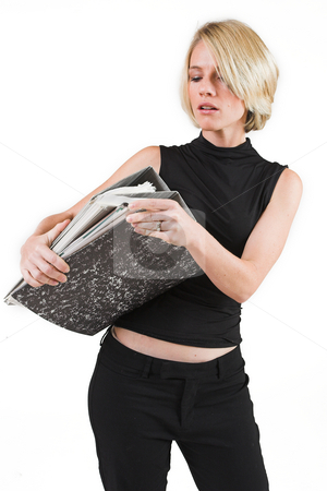 Business Lady #35 stock photo, Blond Business woman carrying files by Sean Nel