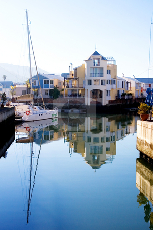 Harbour #13 stock photo, Boats and big house at Knysna Harbour, South Africa by Sean Nel