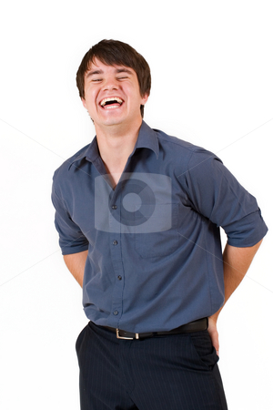 Businessman #54 stock photo, Businessman in blue shirt, laughing - eyes halfway open by Sean Nel