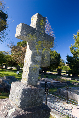 Graves #1 stock photo, Old stone Grave in the shape of a cross at the Belvedere Church, Knysna, South Africa by Sean Nel
