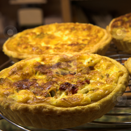 Pastry #13 stock photo, Glazed French Quiche Lorraine in a patisserie by Sean Nel