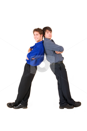 Business People #8 stock photo, Two business partners leaning on each other by Sean Nel