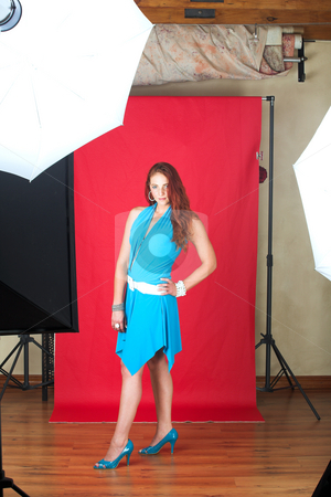 Female Fashion Model stock photo, Young female adult fashion model with natural red hair and freckles in a blue summers dress with white belt (red textured faux leather background) In studio shoot by Sean Nel