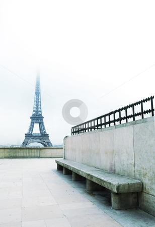 Paris #55 stock photo, The Eiffel Tower in Paris, France.  Blue pastel.  Copy space. by Sean Nel