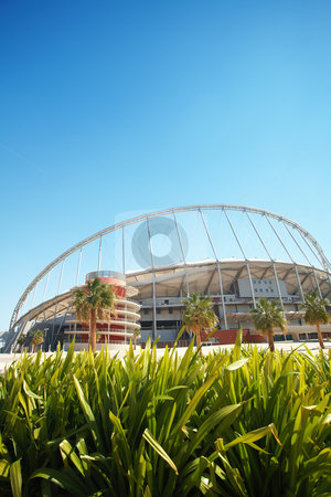 Khalifa sport stadium stock photo, Khalifa (Kalifa) sports stadium in Doha, Qatar where the 2006 Asian games were hosted and location for the proposed 2016 Olympic Games (wide angle lens distortion on edges) by Sean Nel
