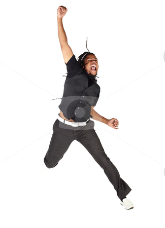 Handsome African businessman stock photo, Handsome African businessman in black suit jumping from joy on white background. Not isolated by Sean Nel